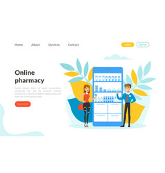 online pharmacy landing page template medical vector image
