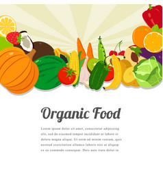 Organic food card design food background with vector