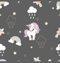 pattern sweets unicorn seamless cute vector image