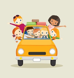 People on car driving to travel vector image