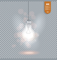 Realistic image of glowing light bulb isolated vector