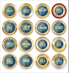 sale retro vintage golden badges and labels 02 vector image