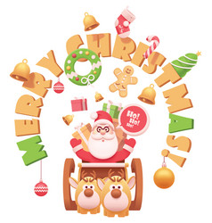 Santa claus with reindeers vector