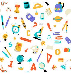 seamless childish school pattern cute doodle kids vector image
