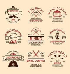 Set coal mining company emblem templates vector