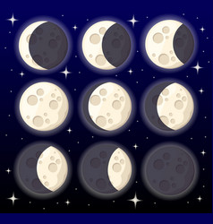 Set different moon phases space object natural vector