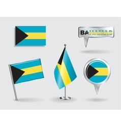 Set of bahamas pin icon and map pointer flags vector
