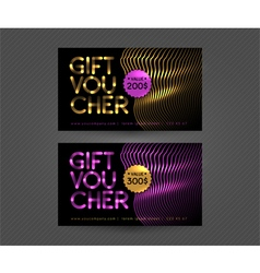 Set with gift voucher golden and pink templates vector