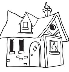simple black and white cute little house vector image