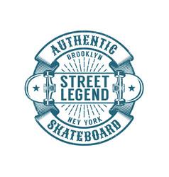 Skateboard brooklyn retro emblem vector