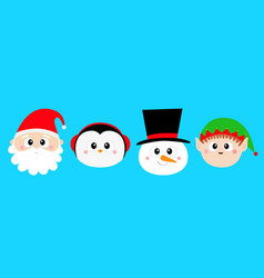 snowman santa claus elf penguin bird round face vector image