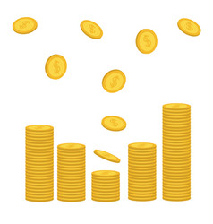 stacks of gold coin icon flying falling down vector image