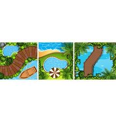 Three scenes with bridge and pond vector image