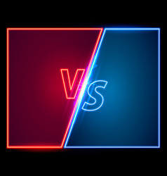versus game cover neon banner sport vs team vector image