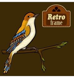 Vintage card with cartoon bird vector