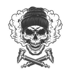 vintage hipster skull wearing beanie hat vector image