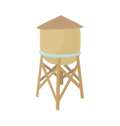 Water tower icon in cartoon style vector