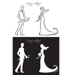 Wedding day bride and groom vector