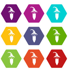 wizard icon set color hexahedron vector image