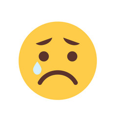 Yellow cartoon face cry sad upset emoji people vector