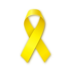 Yellow ribbon Bone cancer troops support symbol vector image