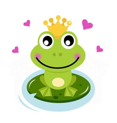 Frog prince with hearts vector image vector image