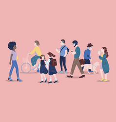 people on street men and women of different age vector image vector image