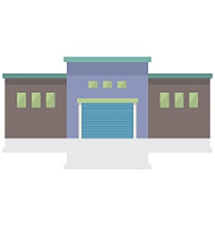 Single Factory Building On White Background vector image