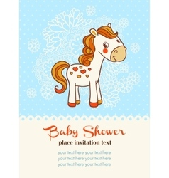 Baby shower invitation card with horse vector image vector image