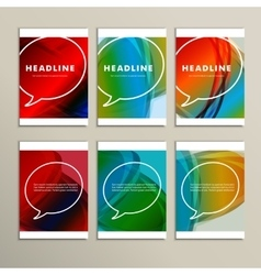 Six speaking bubbles on a colorful background vector image