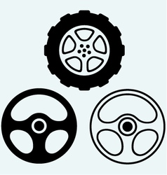 Steering and car wheel vector image vector image