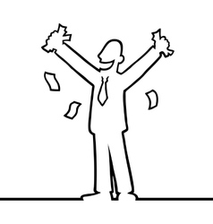 Business man cheering with money in his hands vector image vector image