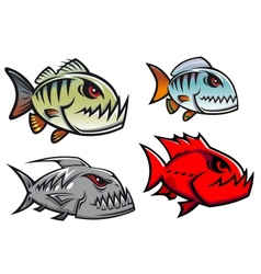 Cartoon colorful pirhana fish characters vector image