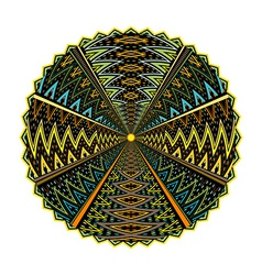 Round geometric motif isolated on white background vector image