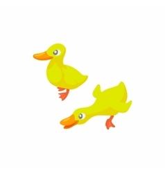 Two yellow ducks icon cartoon style vector image