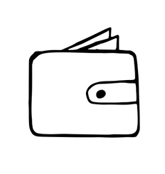 wallet doodle drawing hand drawn vector image vector image
