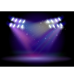 An empty stage with lights vector image