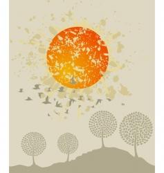 birds over wood vector image