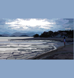 evening landscape girl standing on the coast vector image