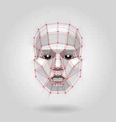polygonal human face on light futuristic concept vector image