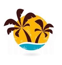 Retro grunge palms icon vector image
