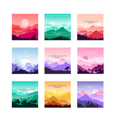 set of minimalistic flat original landscapes vector image