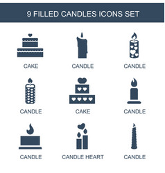 9 candles icons vector