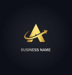a triangle arrow gold logo vector image