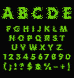 alphabet numbers signs made green slime vector image
