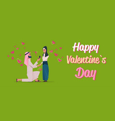 arab man kneeling holding engagement ring vector image