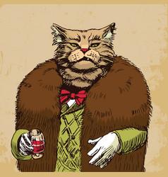 Arrogant sophisticated dressed cat boss looking vector