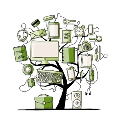 Art tree with digital office devices for your vector image