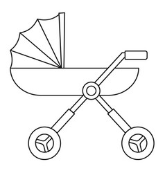 Baby pram carriage icon outline style vector
