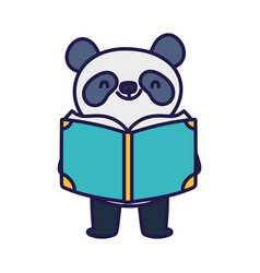 back to school education cute panda with book vector image